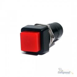 Chave Push Button Quadrada NA Com Trava Vermelha
